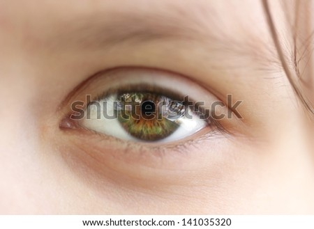 Child macro closeup eye - stock photo