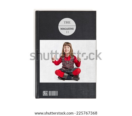 Child making Ok sign printed on book - stock photo