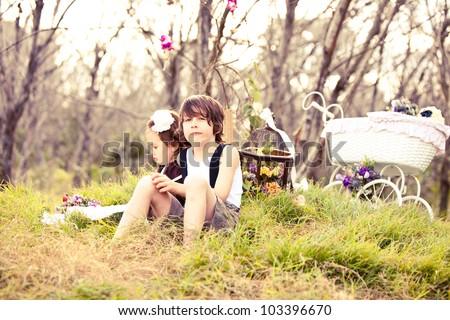 Child near the woods using imagination - stock photo