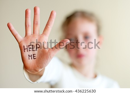 Child need help. Violence concept. - stock photo