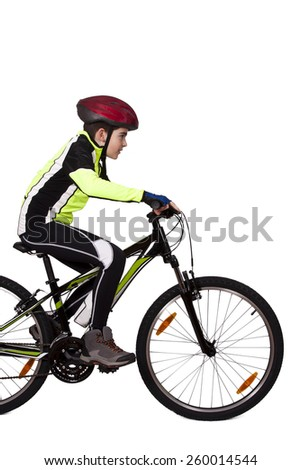 child on a bicycle isolated - stock photo