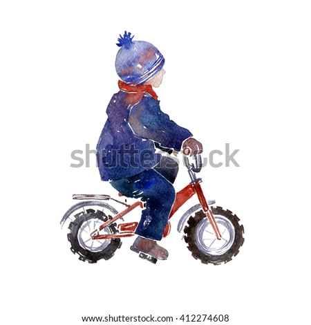 child on bicycle, small kid on a bike, painted in watercolor, hand drawn watercolor illustration - stock photo