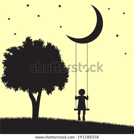 Child on swings hanging from moon and tree silhouettes - stock photo