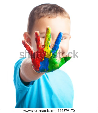 child one hand painted on a white background - stock photo