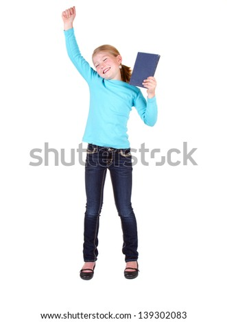 Child or girl holding book above head isolated on white background