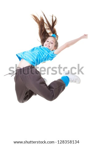 child or kid jumping and dance - stock photo