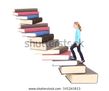 Child or young teen climbing a stair case of books with an isolated white background
