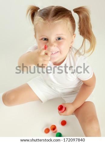 Child painting , isolated on white background - stock photo
