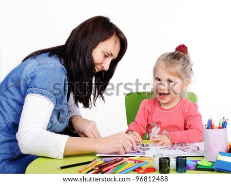 Child painting , mother help by little girl.