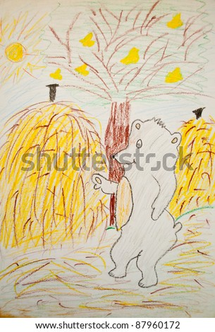 Child painting of bear in forest - stock photo