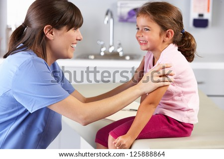 Child Patient Visiting Doctor's Office - stock photo