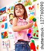 Child play block in play room. Preschool. - stock photo