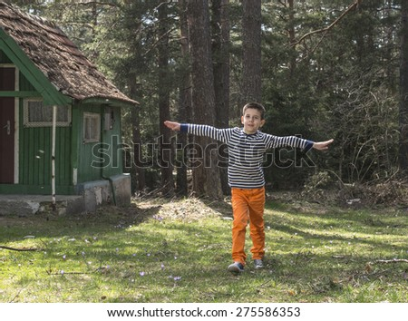 Child play in the forest.