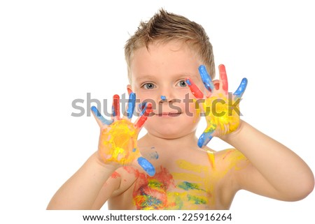 child play with colors - stock photo