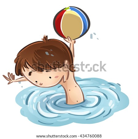 child playing ball in the water