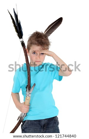 Child playing bow and arrows - stock photo