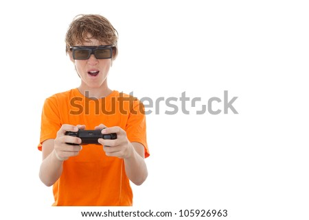child playing game with video gamer glasses.