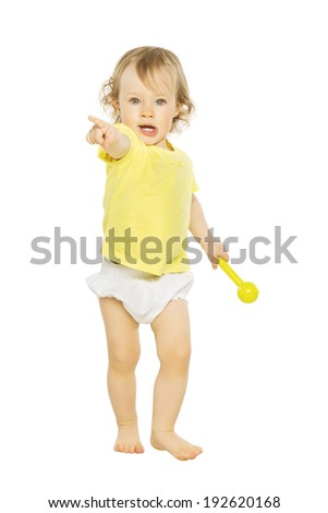 Child pointing finger hand forward. Isolated white  - stock photo