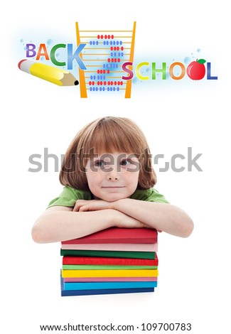 Child preparing for elementary school - isolated