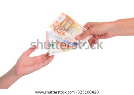 child preserve pocket money in front of white background- euros - stock photo