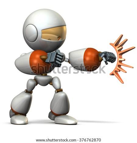 Child robot attacks. computer generated image - stock photo