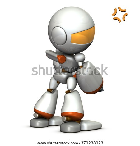 Child robot is grumpy. He is looking unsated. computer generated image