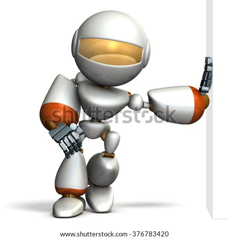 Child robot is leaning against the wall smugly. computer generated image - stock photo