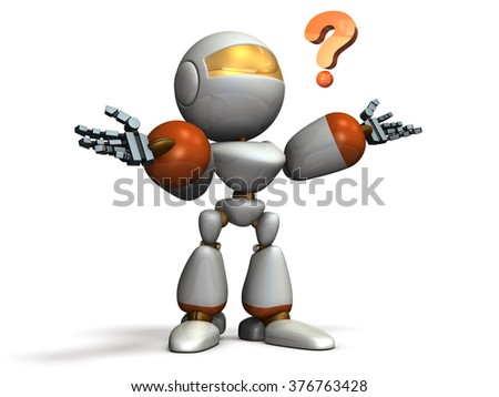 Child robot is puzzled. computer generated image - stock photo