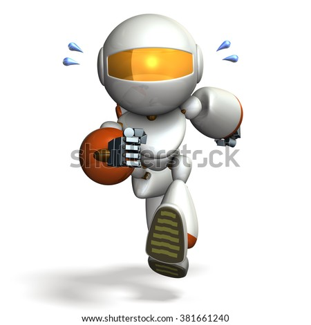 Child robot is running hard. computer generated image  - stock photo