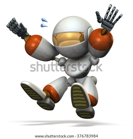 Child robot plays with the long jump. computer generated image  - stock photo