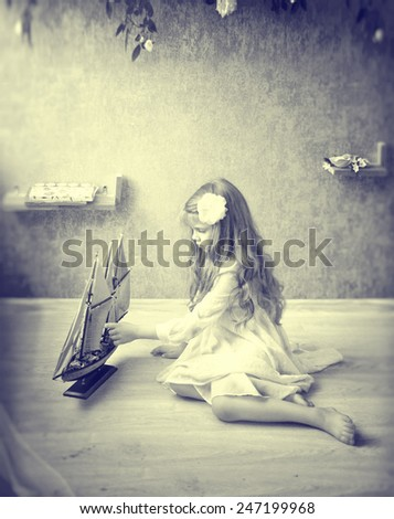 Child room girl playing  - stock photo