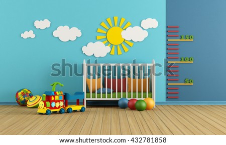 Child room with baby crib and toys - 3d rendering - stock photo