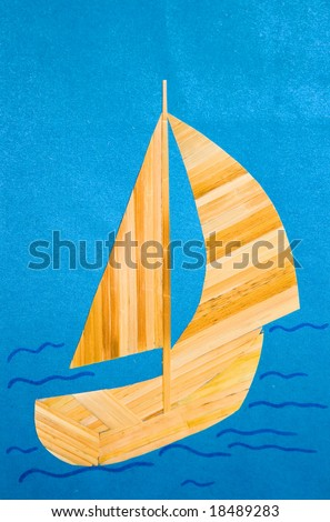 child's applique' work: sailing ship - stock photo
