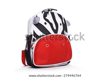 child's backpack isolated on a white background - stock photo