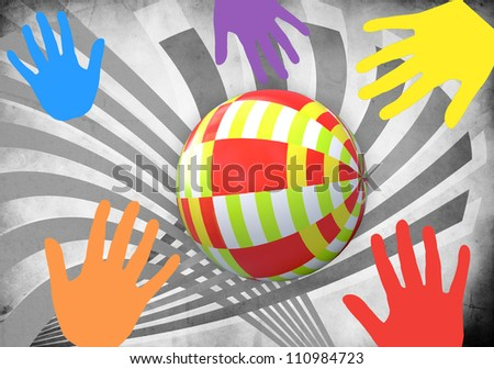 Child's colorful ball and fun hand