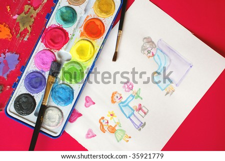 Child's drawing - Grand Mother day - stock photo