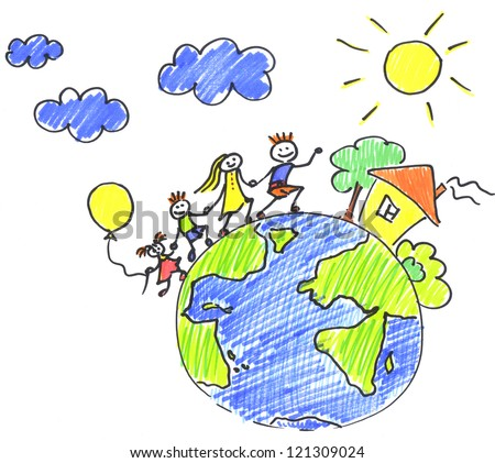 Child's drawing happy family on the planet earth - stock photo