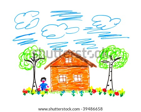 Child's drawing house isolated on white background - stock photo