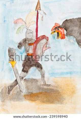 child's drawing - Knight fights with giant chicken - stock photo