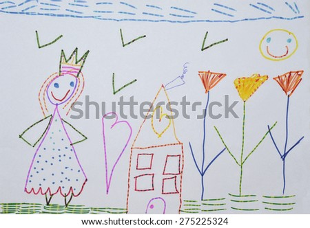 childs drawing mom in the garden at the house - Child Drawing Book