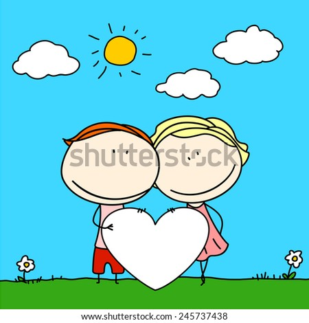 Child's drawing of a happy couple with banner (raster version) - stock photo