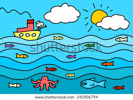 Child's drawing of a little boat in a sea  - stock photo