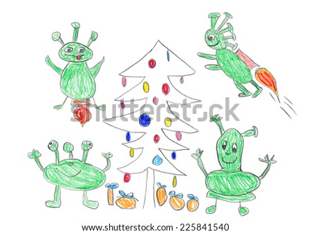 Child's drawing of Aliens celebrating Christmas with gifts and christmas tree. - stock photo