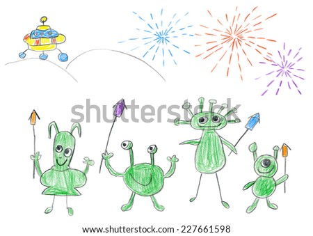 Child's drawing of Aliens celebrating happy New year with big fireworks on planet Earth. - stock photo
