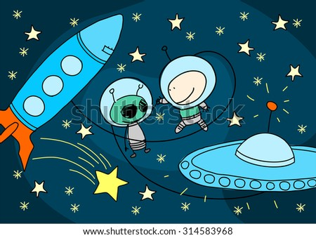 Child's drawing of an alien and astronaut greeting each other (raster version) - stock photo