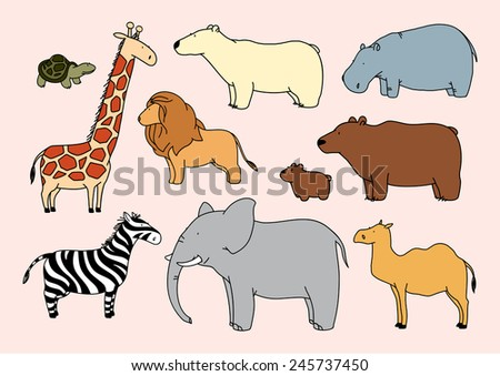 Child's drawing of animals (raster version) - stock photo