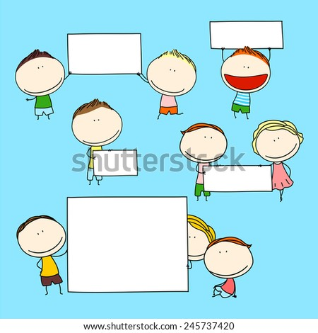 Child's drawing of happy kids with banners (raster version) - stock photo
