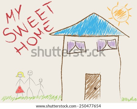 Child's drawing of his home and family - stock photo