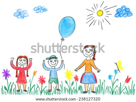 Child's drawing of kids playing with blue balloon on spring meadow. Beautiful day outdoor in nature. - stock photo