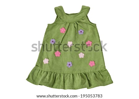 Child's green dress with flowers, isolated on white. Clipping path  included.